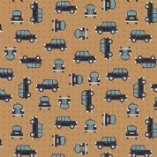Lewis & Irene - City Nights - 6028 - Black Taxis on Copper (Metallic) - A292.3 - Cotton Fabric